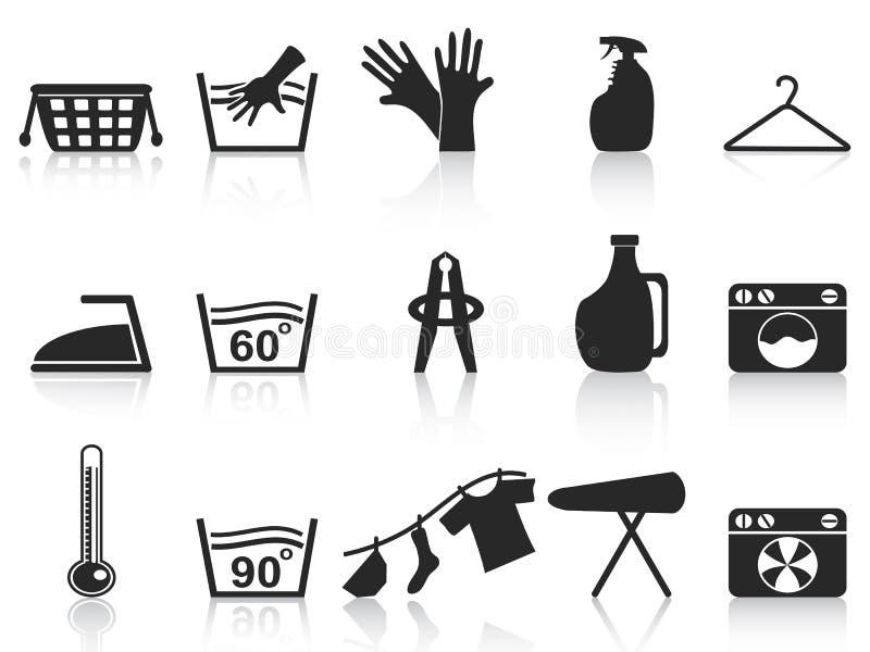 Black laundry icons set. Isolated black laundry icons set on white background stock illustration