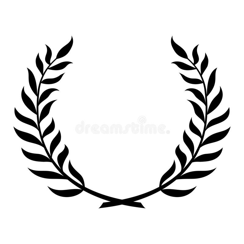 Black laurel wreath. stock illustration