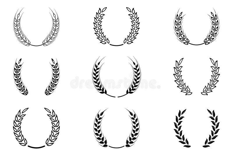 Black laurel wreath - a symbol of the winner. Wheat ears or rice icons set. royalty free illustration