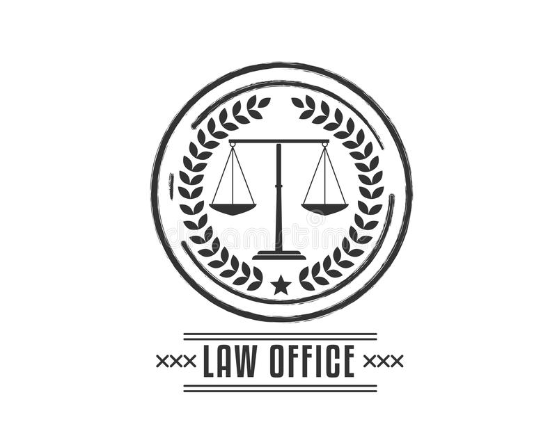 Black law office vintage icon illustration. Badge vector illustration