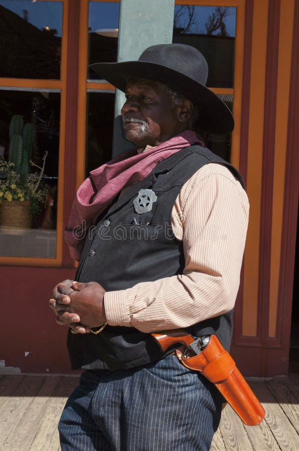 Black Lawman in Tombstone Arizona. Black Man portraying a Lawman of the Old West in Tombstone Arizona royalty free stock photos
