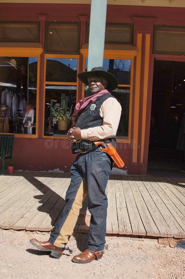 Black Lawman in Tombstone Arizona. Black Man portraying U. S. Marshall Baz Reeves Lawman of the Old West in Tombstone Arizona in 1875 royalty free stock photos