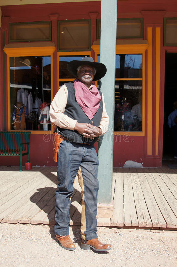 Black Lawman in Tombstone Arizona. Black Man portraying a U. S. Marshall Lawman of the Old West in Tombstone Arizona in 1875 royalty free stock photography