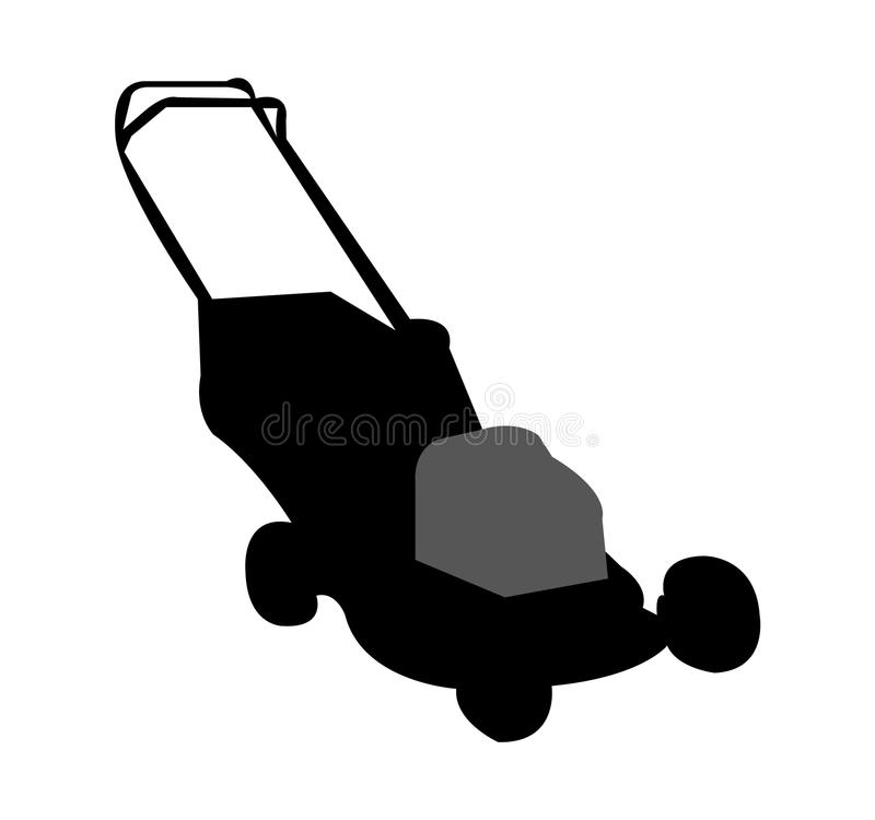 Black lawn mower silhouette. A simple black silhouette of a lawn mower, isolated on white background royalty free illustration