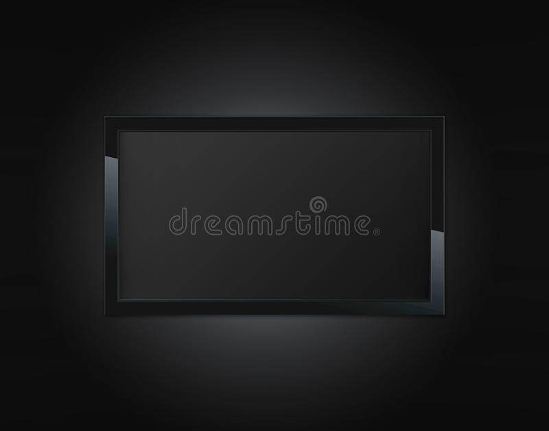 Black LCD tv. Screen hanging on a wall vector illustration