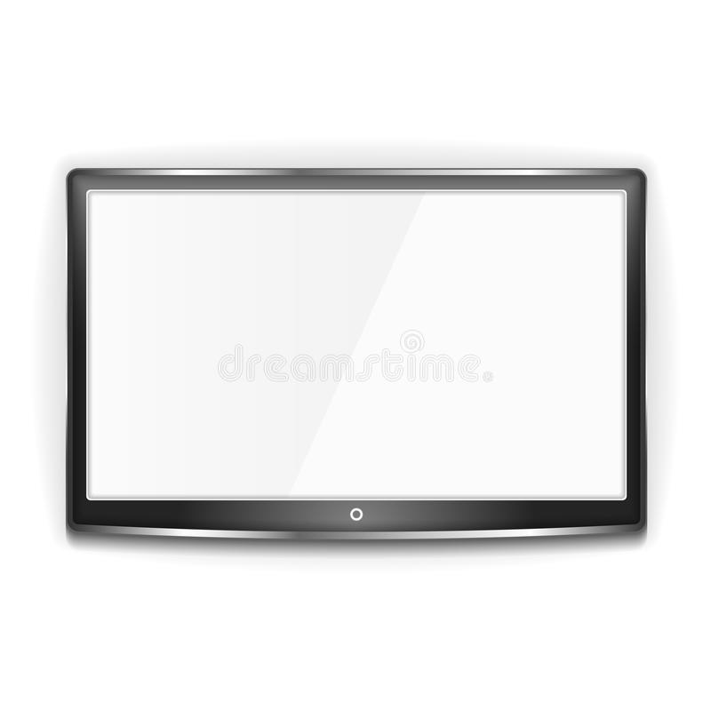 Black LCD TV Screen. Black LCD TV with metallic frame and white screen on white background stock illustration