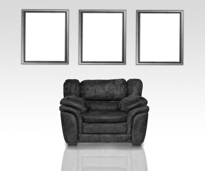 Download Black leather armchair stock photo. Image of couch, elegant - 19814290