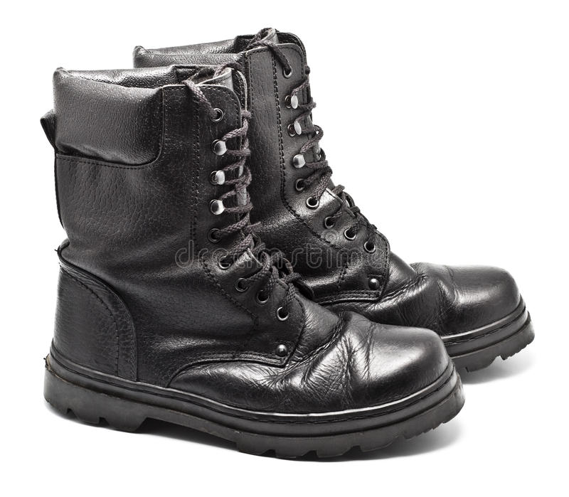 Black Leather Army Boots royalty free stock photography