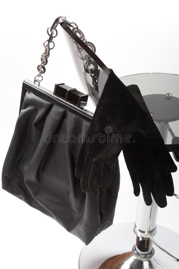 Black Leather Bag and long gloves royalty free stock photo