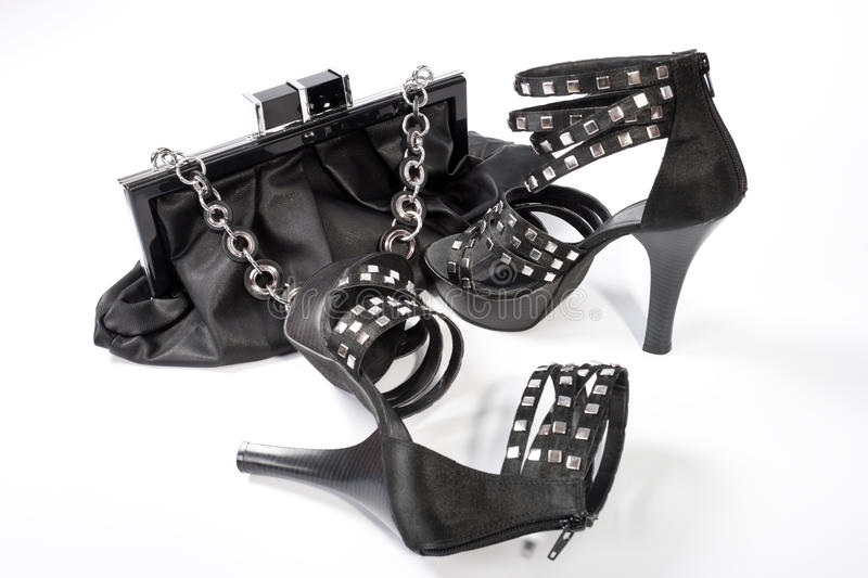 Black Leather Bag and shoes royalty free stock image
