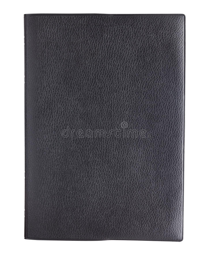 Black leather book cover isolated on white background stock photo