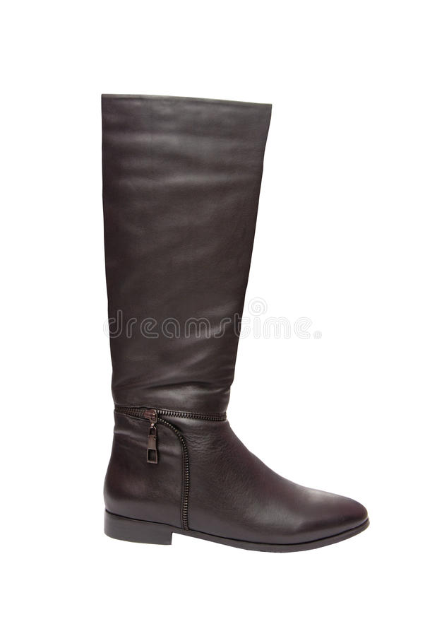 Black leather boot with zipper stock images