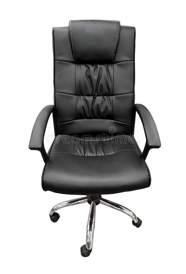 Black leather boss office chair isolated on white background. Nobody, seat, business, furniture, indoors, empty, armchair, style, new, elegance, modern, design royalty free stock photos