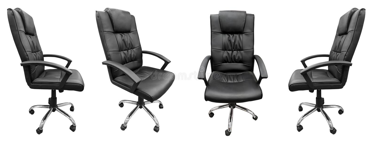 Black leather boss office chair isolated on white background. Black leather boss office chair set different side isolated on white background, nobody, seat stock photography