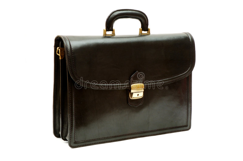 Download Black leather briefcase stock photo. Image of modern, handheld - 454424