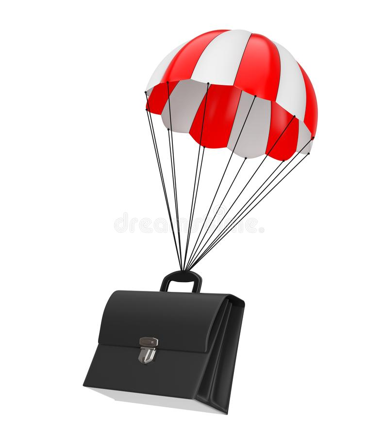 Black Leather Briefcase Flying with Red Parachute. 3d Rendering vector illustration