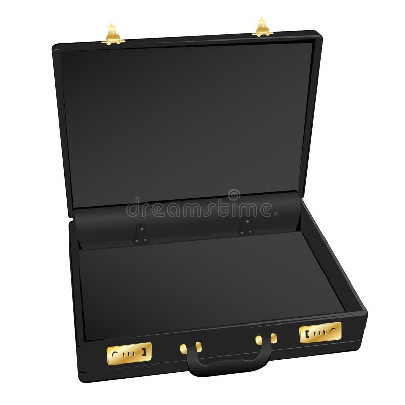 Black Leather Briefcase Vector. Open Black Leather Briefcase Vector royalty free illustration