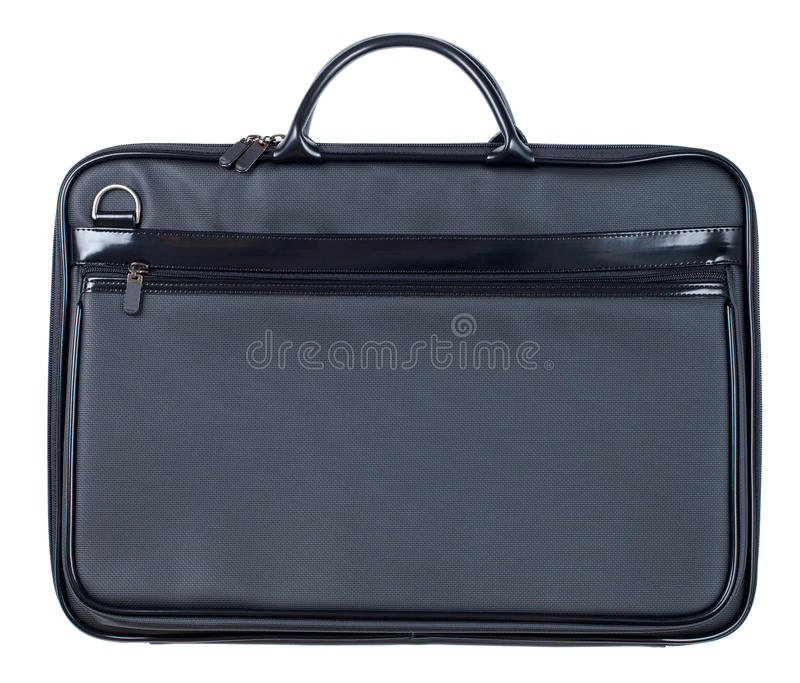 Black leather business case isolated on white stock photo