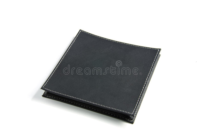 Black leather case. The black leather case on a white background stock photography