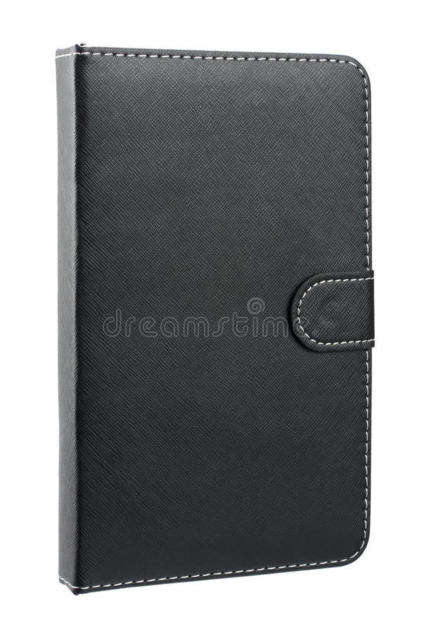 Black leather case for tablet stock photography