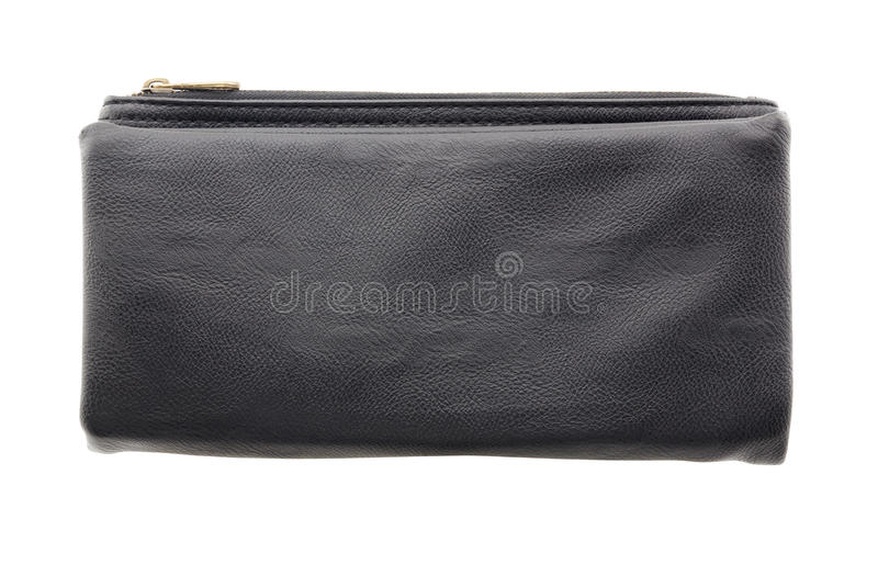 Black leather clutch bag isolated on a white background royalty free stock photos