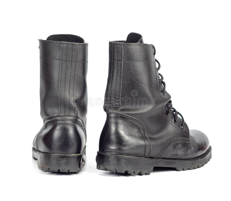 Black Leather combat boot or Army Boots. On white stock photography