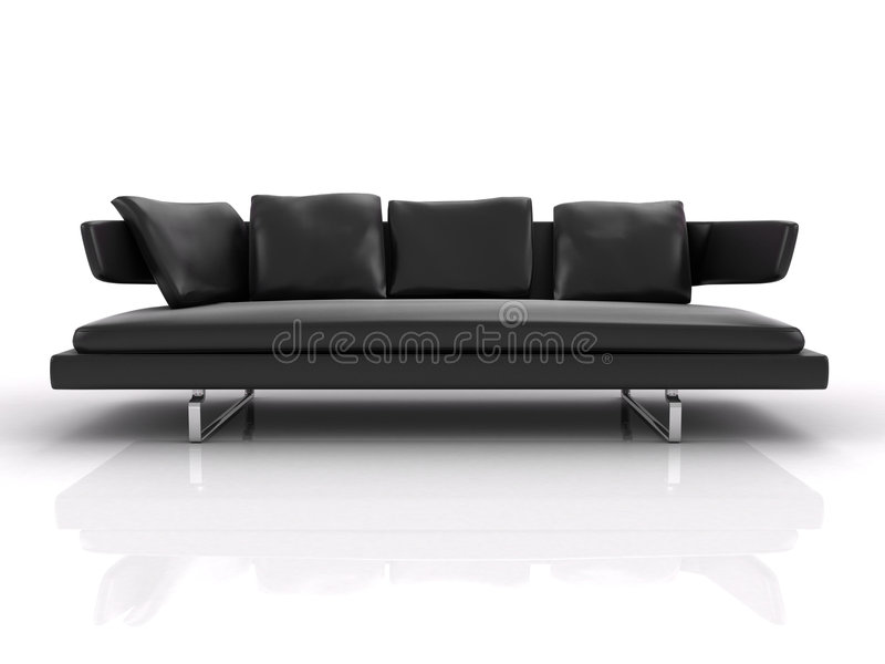 Black leather couch. Isolated. Couch on the white background royalty free illustration
