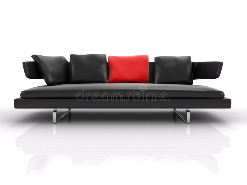 Black leather couch whith red pillow. Black leather couch with red pillow. Isolated. On the white background stock illustration