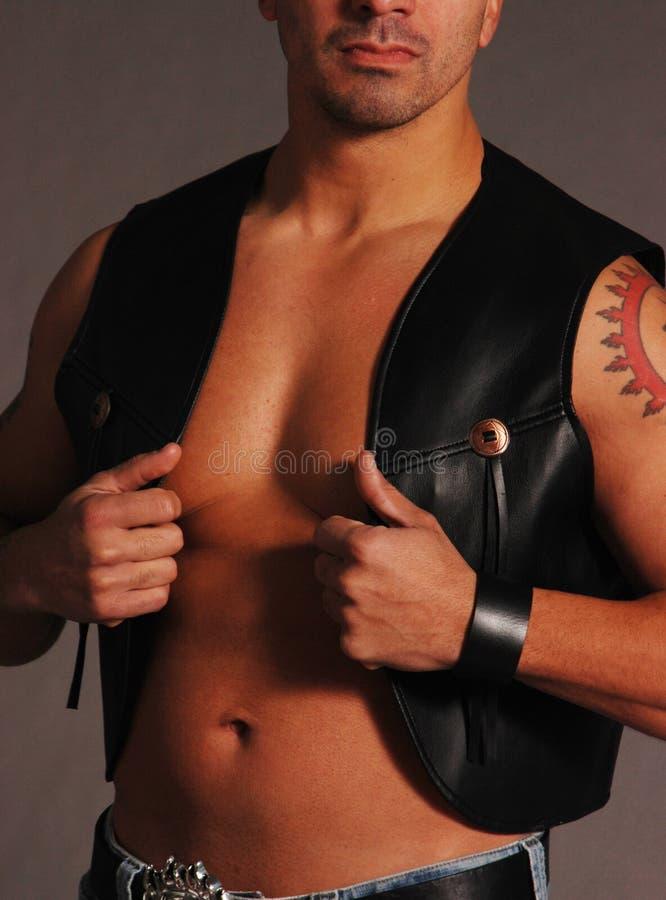 Black leather cowboy vest 2 stock photography
