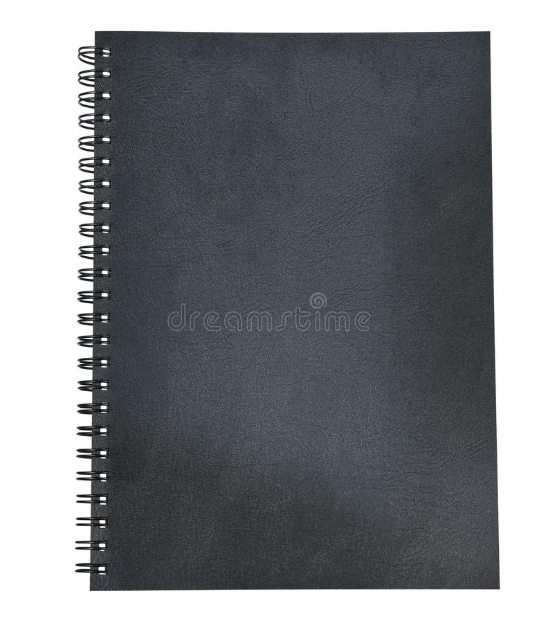 Black leather of diary book cover isolated white stock photos