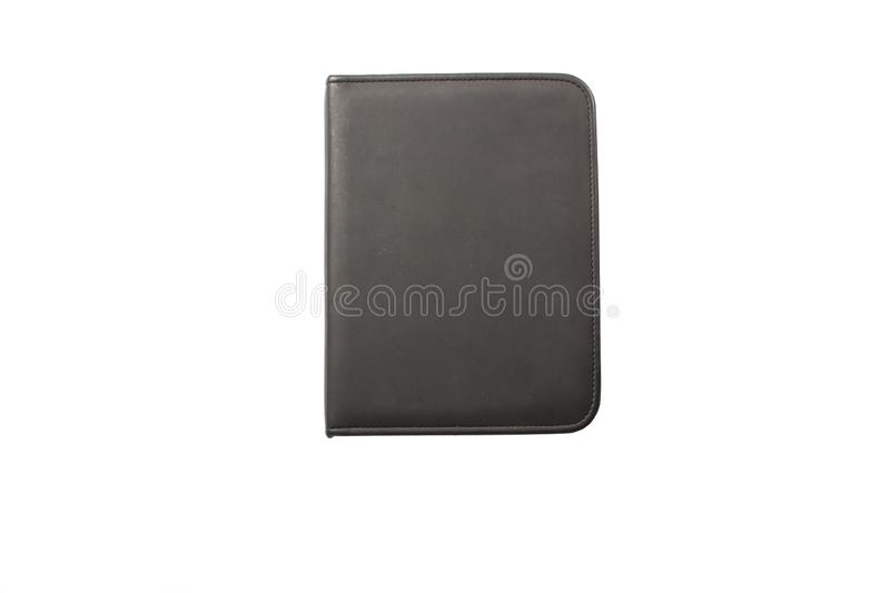 Black leather folder isolated on white background. Leather black folder on a white background. Black folder mockup template. royalty free stock photos