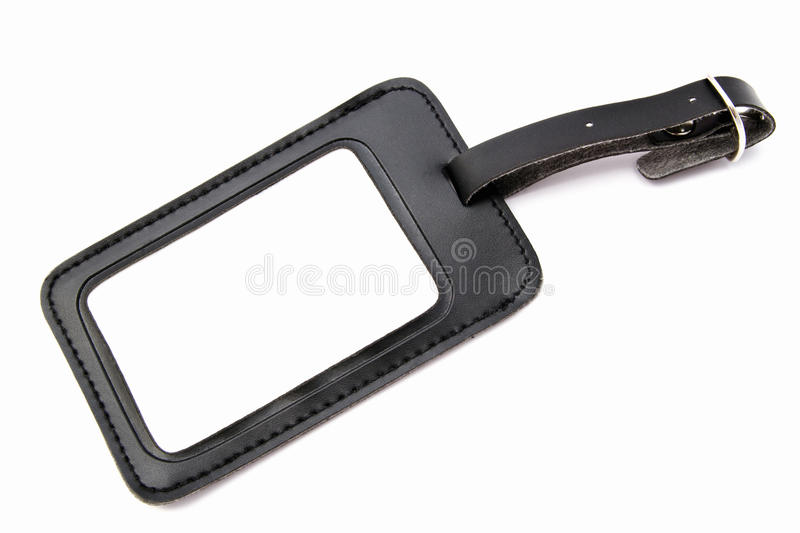 Download Black leather Luggage tag stock photo. Image of package - 23687454