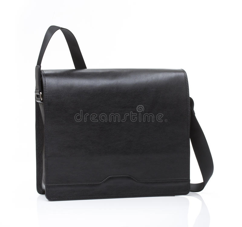 Black leather men casual or business briefcase stock photography