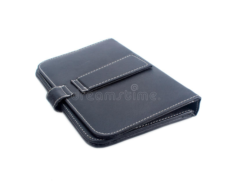 Black leather note book isolated on white background stock photos