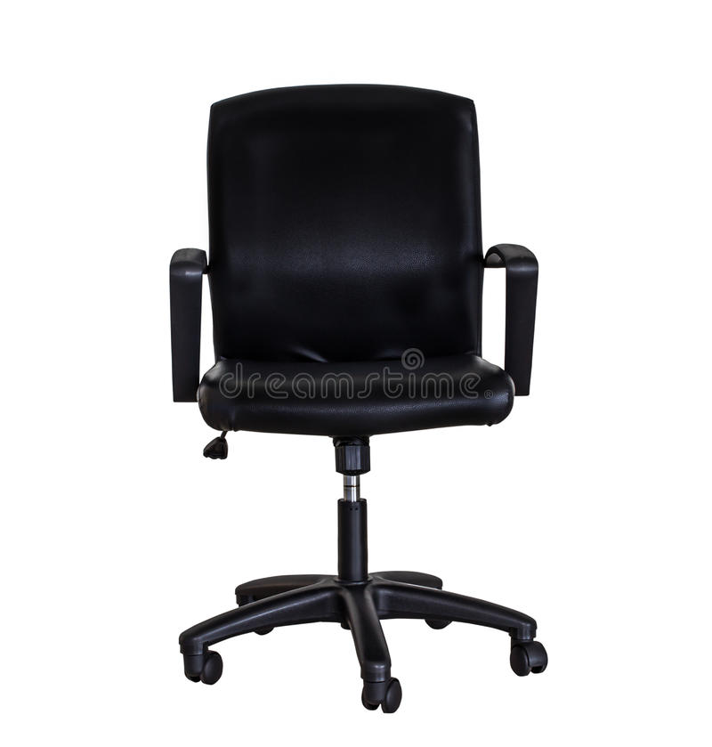 Black leather office chair isolated stock photo
