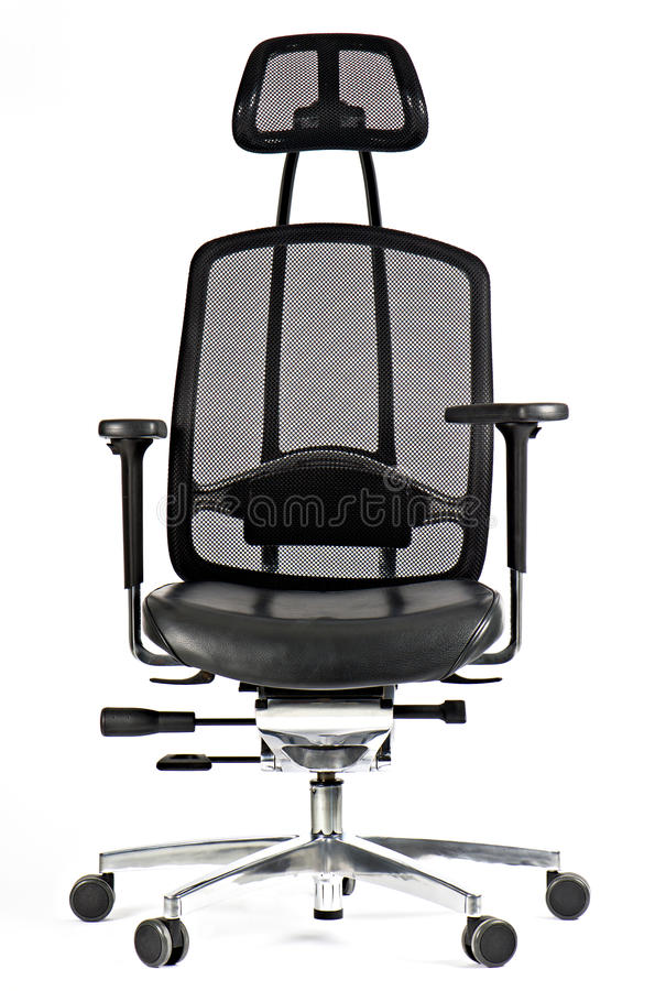 Black leather office chair isolated on white stock photography