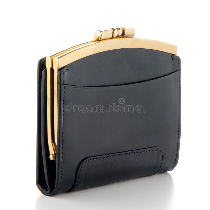 Black Leather Purse. On white background royalty free stock photography