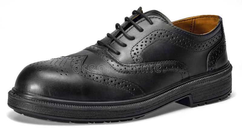 Black leather shoe stock images