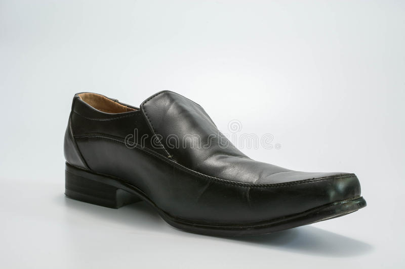 Black leather shoes royalty free stock image