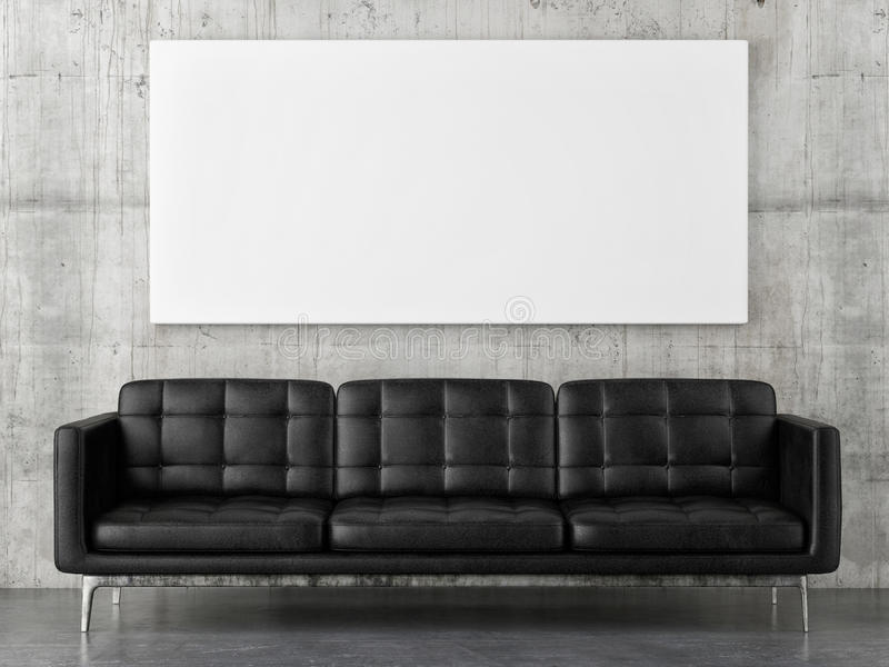 Black leather sofa with horizontal mock up poster, concrete wall background royalty free illustration