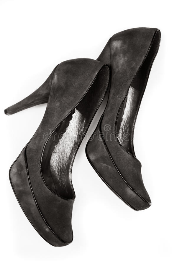 Black leather stiletto heels.  stock photos