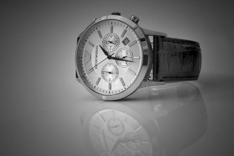 Black Leather Strap Silver Chronograph Watch stock images