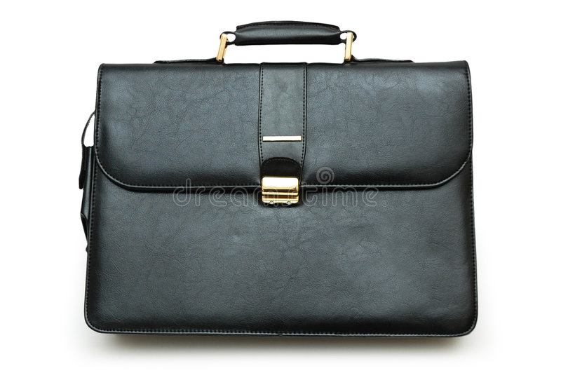 Download Black Leather Suitcase Isolated Stock Image - Image: 1735533