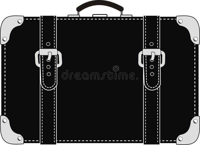 Download Black Leather Suitcase With Straps Stock Vector - Image: 19599358
