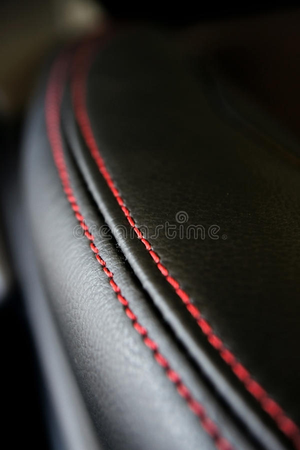 Black leather texture. On car seat stock images