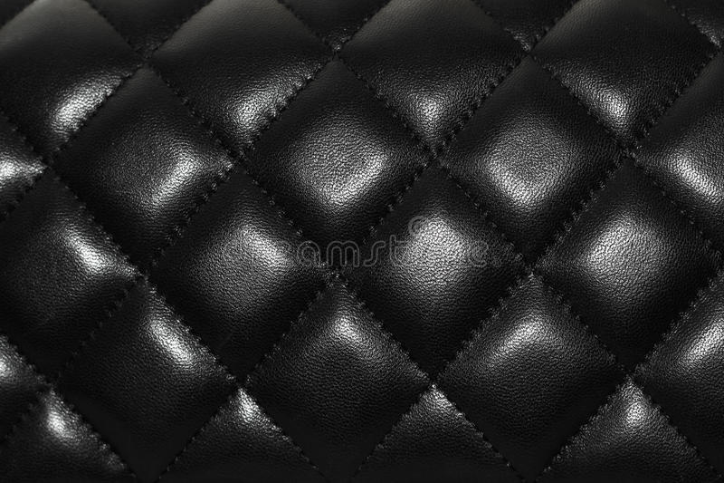Black Leather Texture Bag Skin Chanel Stock Photo