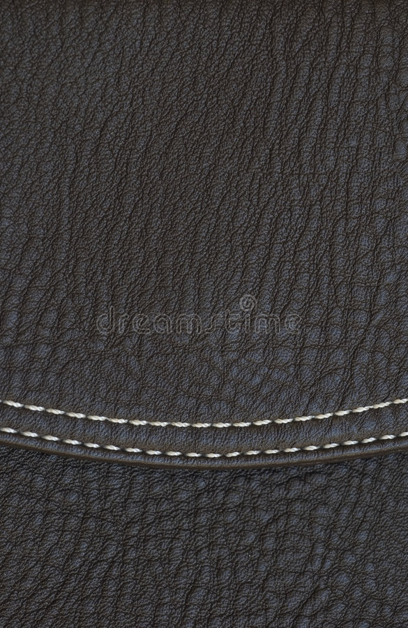 Black leather texture with seam stock photo