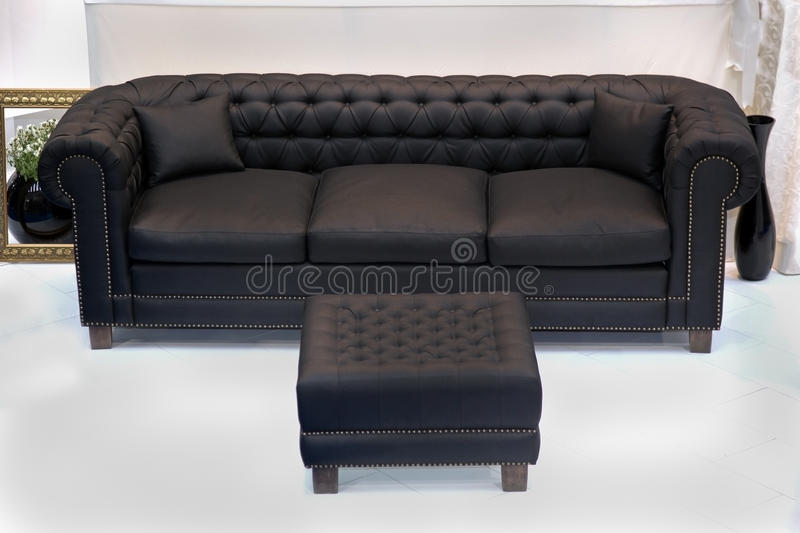 Leather vintage sofa stock photography