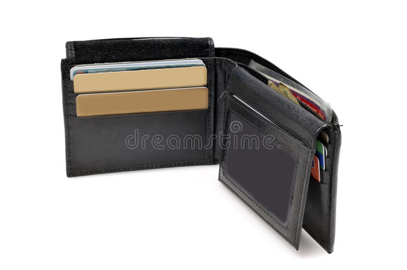 Black leather wallet stock photos