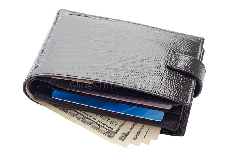 Black leather wallet with cards and money stock photo